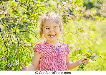 poco, parque, primavera, soleado, niña, feliz