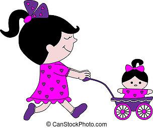 poco, passeggino, ragazza, bambola