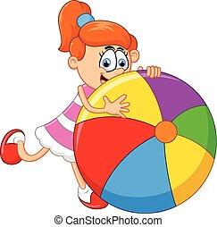 poco, pelota, caricatura, niña, tenencia