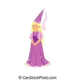 poco, pelota, rubio, púrpura, fairytale, princesa, beautifull, sombrero, niña, vestido, puntiagudo, disfraz