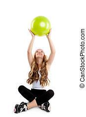 poco, pelota, yoga, gimnasio, verde, niña, niños