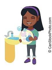 poco, piatti lavaggio, africano, sink., ragazza