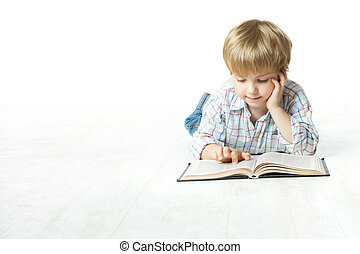 poco, piso, abajo, libro, niño, lectura, acostado