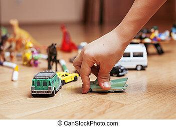 poco, piso, lío, niños, mano, juguetes, juego, hogar