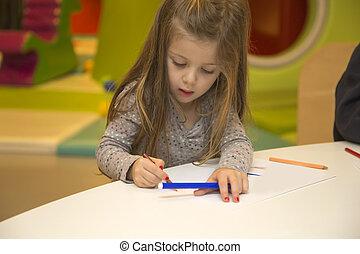 poco, playroom, dibujo, niña