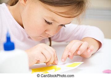 poco, preescolar, artes, niña, artes