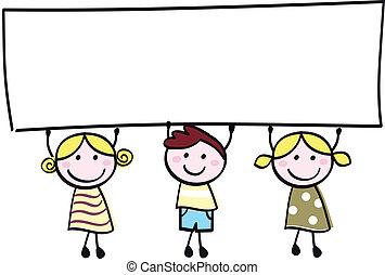 poco, presa a terra, bandiera, felice, vuoto, carino, -, ragazzo, ragazze, vuoto, cartone animato, illustration.
