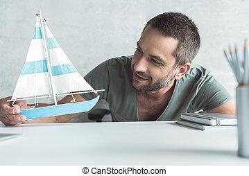 poco, presa a terra, bristled, gioioso, barca, uomo