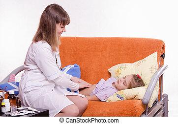 poco, probes, estómago, niña, doctor