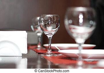 poco profondo, -, campo, profondità, tavola, occhiali, vino