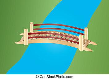 poco, puente, encima, un, riachuelo