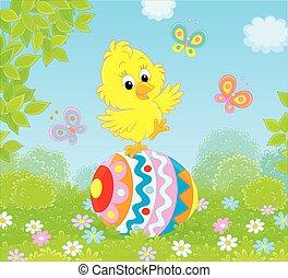 poco, pulcino pasqua, su, uno, decorato, uovo