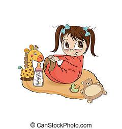 poco, ragazza bambino, gioco, lei, giocattoli