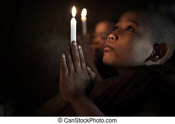 poco, rezando, monjes