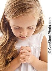poco, rezando, niña