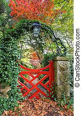 poco, rojo, puerta, en, bebear, jardines