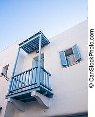poco, santorini., terrazzo, colorito, grecia