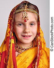 poco, sari, tradicional, indio, niña, jeweleries