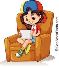 poco, sedia, ragazza, tavoletta, seduta