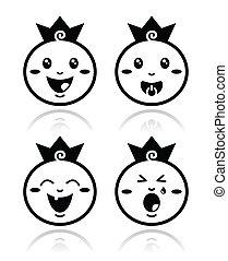 poco, set, icone, reale, principe, bambino