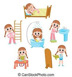 poco, set, quotidiano, routine mattina, ragazza, cartone animato