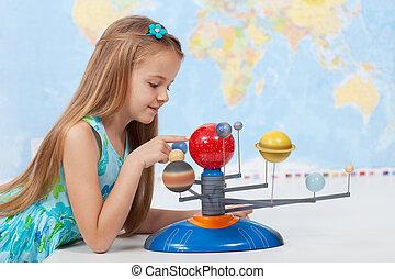 poco, sistema, solare, ragazza, studi, classe, geografia