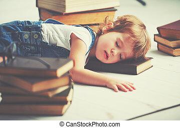 poco, stanco, libri, addormentato, ragazza, abbattere