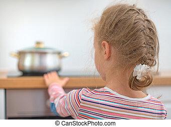poco, stove., peligroso, toques, caliente, situación, niña,...