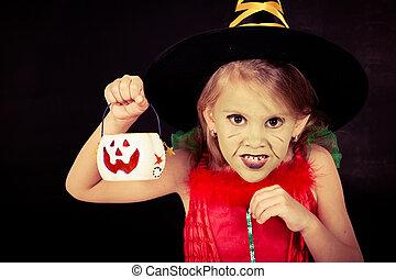 poco, strega halloween, partito costume, ritratto, ragazza