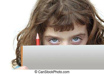 poco, studente, ragazza, guardando dietro, libro, e, matita