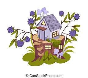 poco, stump., casa, vettore, bianco, illustrazione, lilla, fondo.