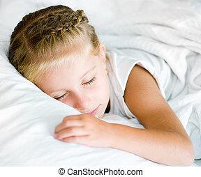 poco, sueño, niña