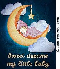 poco, sueño, niña, tarjeta, luna