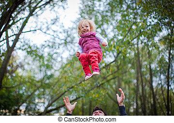 poco, suo, figlia, smily, sano, padre, parco, lanci