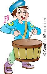 poco, tamburino, ragazzo, illustrazione