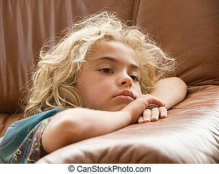 poco, televisione, ragazza, osservare