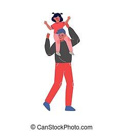 poco, tempo, detenere, portante, padre, illustrazione, ...