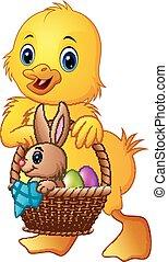 poco, uova, bambino, portante, coniglio, anatra, cesto, cartone animato