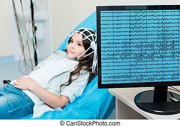 poco, vía, ella, registrado, cerebro, electroencephalograph,...