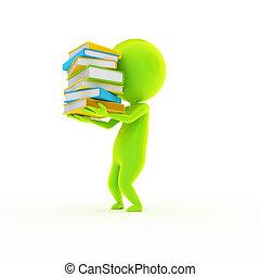 poco, verde, tipo, y, un, grapa, de, libros