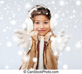 poco, vestiti, inverno, ragazza, felice