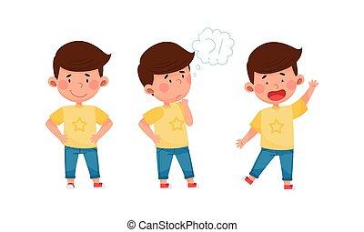 poco, vettore, faccia, pensieroso, sorriso, standing, ragazzo, set, suo, espressione