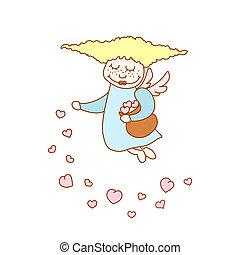 poco, vuelo, ilustración, corazones, niña, caricatura