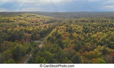 Pocono Mountains Pennsylvania landscape with green meadow...
