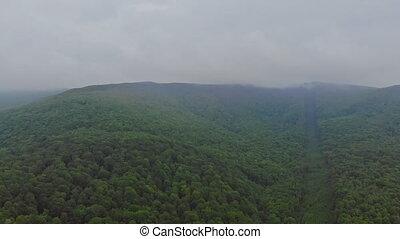 Pocono Pennsylvania landscape view of foggy mountains