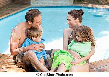 pocsolya, portré, úszás, mellett, család, boldog