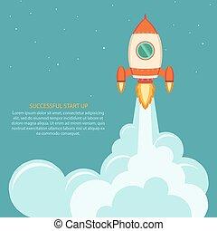 początek, launch., do góry, rakieta, przestrzeń