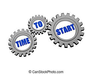 początek, mechanizmy, szary, srebro, czas