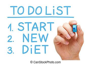 początek, nowy, dieta, żeby zrobić spis