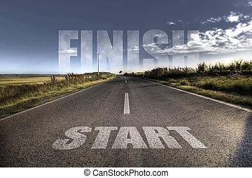 początek, pojęcie, -, finisch